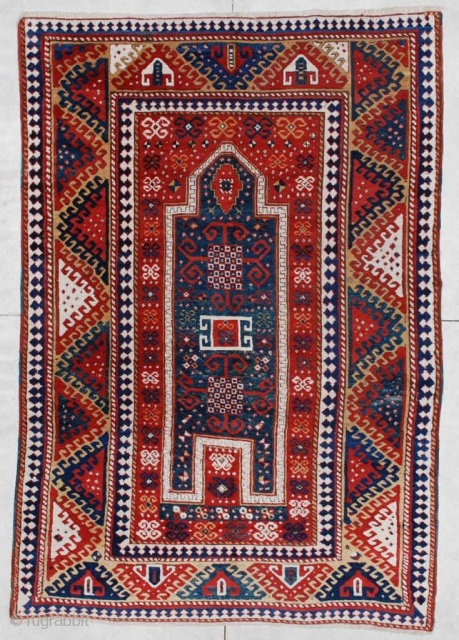 "This circa 1860 antique Caucasian Borchalou Kazak rug measures 5'4"" X 7"". It is a nice big Kazak and the only prayer Borchalou I have ever seen. The prayer design is in  ..."