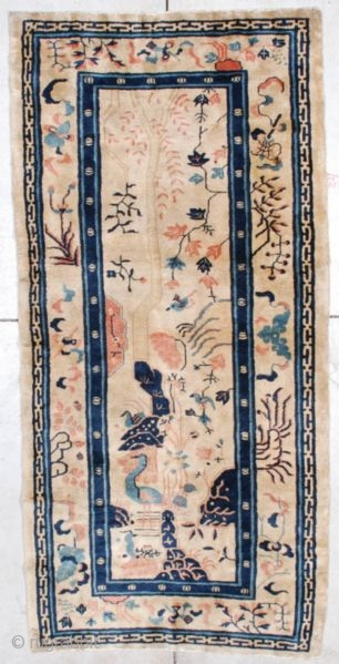 """#7231 Peking Chinese Oriental Rug This circa 1900 Peking Chinese Oriental carpet measures 3'3"""" X 6'8"""". It is a lovely scenic Chinese rug which has a peacock, swimming duck and a large blue  ..."""