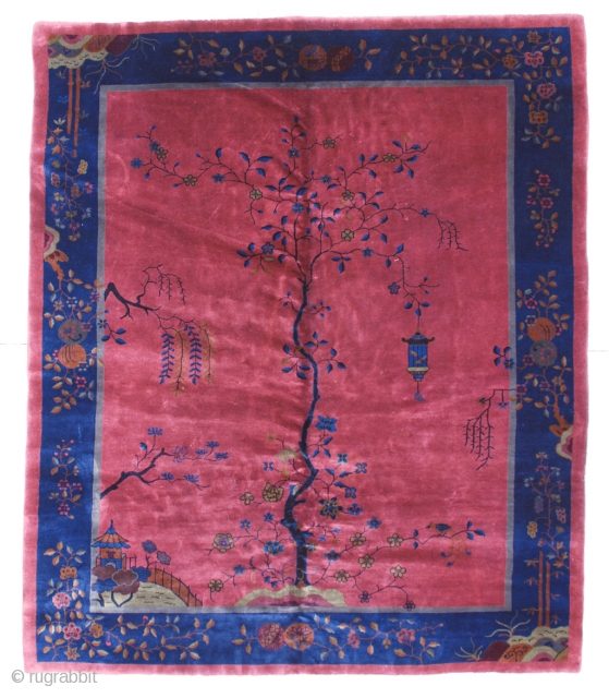 """#6441 Antique Art Deco Chinese Rug This circa 1910 Peking weave Art Deco Chinese rug measures 8'0"""" x 9'8"""". It has a very deep rose to red background with a single tree growing  ..."""