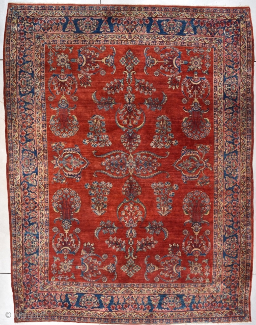 "Antique Mahajaran Sarouk Persian Rug 9'2"" X 12'2"" #7992
