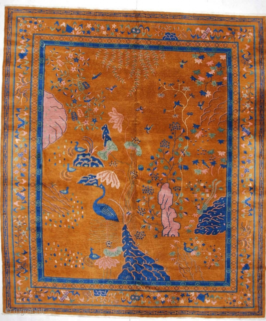 """#5929 Antique Art Deco Chinese Rug  This 1930's Art Deco Chinese rug measures 10'10"""" X 12'7"""". This rug has it all! Depicted are lakes, rivers, trees, flowering bushes, sacred mountains, birds and  ..."""