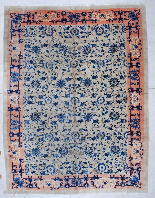 """#5952 Antique Art Deco Chinese Rug  This Vintage 1930's Art Deco rug measures 9' x 11'10"""". It has more the feel of Art Nouveau than Art Deco. The ivory field is completely  ..."""