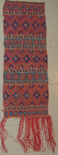 Rare North African(?) embroidery fragment, silk on home-spun wool foundation, 19th.Cent., 36''( including original fringe) X 11''.