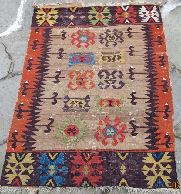 """Rare small format 18th. century Anatolian kelim, overall design on a camel field, showing a plethora of scintillating colors, including apple green, and an intense aubergine, 50"""" X 36""""[127 X 92cm]"""
