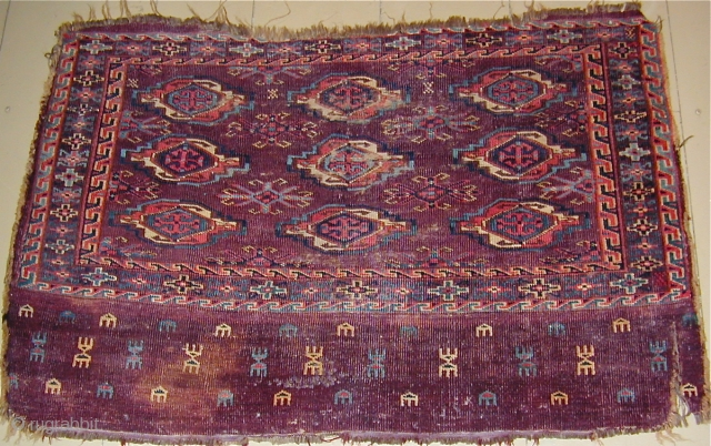 Turkmen Chuval with beautiful colors needful of a bath, some staining,asymmetric knot open R. 43'' X 28''(109 X 71cm), early 19th. century.