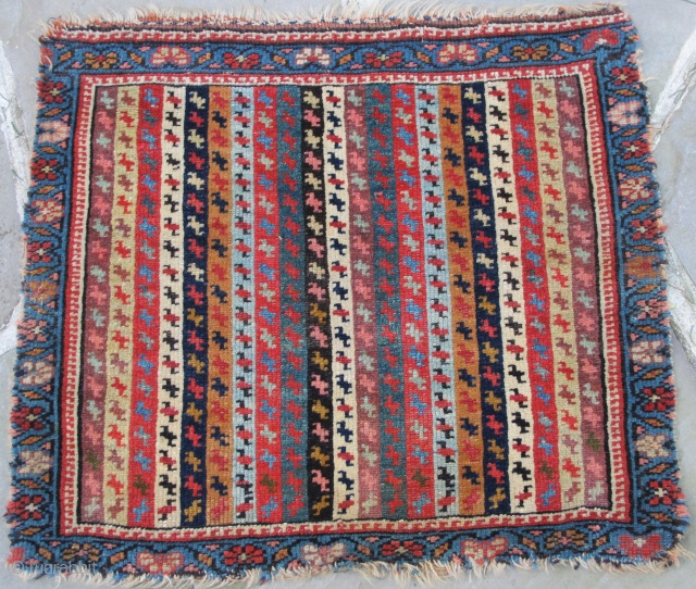 Very finely woven N.W. Persian Bag-Face with extraordinary  colors, Ca. 1840, 23'' X 20''(59 X 51cms)