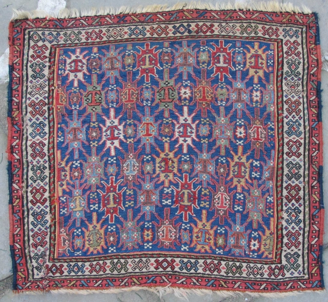 """Finely woven Khamseh Soumak bag-face with many incredible colors including a clear green. Early 19th. century, 22"""" X 20""""."""