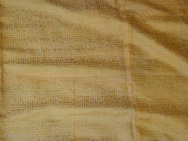 "Antique Chinese Textile, 4\'5""x3\'5\"", Showing Lining Textile."