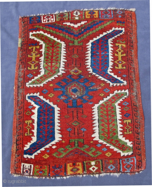 Central Anatolian Yastik with beautiful  colors including aubergine in very good condition, original selvedges,