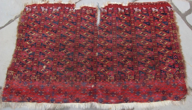 Finely woven Tekke Aina Gul Chuval, a bit ragged...but best of type:  cloth-like quality, profuse silk highlights,  cotton highlights, 19th. century, 44'' X 28''(112 X 71cm)