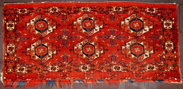 Circa 1800 or Earlier Rare Tekke 6 Gul Torba with Very Round Guls, Ruby Red Silk Highlights, 3' 7'' x 1' 8''. (Click on image to view back)