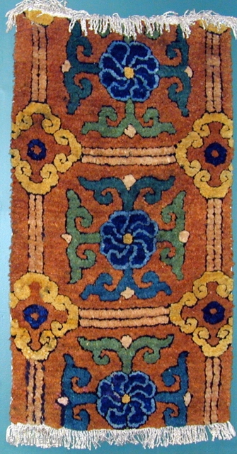 Fragment of a Large-Knotted Ming Chinese Carpet, Silk Warps-Cotton Wefts, 16th. century, 20 1/2''x 30'', Full Pile. Click on Main Image for View of Back.