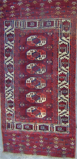 Fragmented early Yomud main carpet with wonderful colors and many interesting border elements and a minor Gul which is generally seen on Chuvals, 78'' X 37''. Good pile.  Click to view image  ...