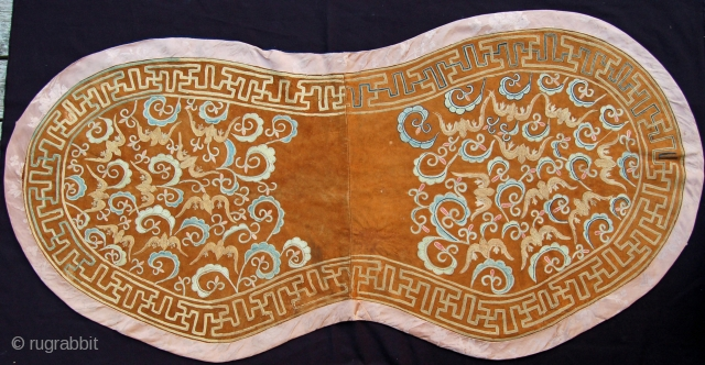 """Rare  Central Asian Saddle Cover,  silk embroidery chain stitch on fine leather, 59"""" X 28""""[150 X 72cm]This piece served as a decorative cover, placed directly on the back of the horse  ..."""