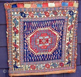 Complete rare early Soumak bag with its original back, 19th. century,
