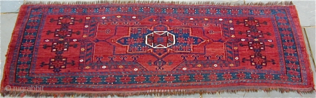 Unusually large Ersari Jollar in excellent condition with highlights in white cotton and clear yellow wool, 19th. century, 61'' X 21'' ( 155 X 52cm)