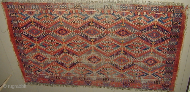 Extremely finely woven rare five panel large Ersari Chuval with wonderful colors including a lemon yellow; showing wear; needful of a bath; early 19th. century, 64''X 39''(162 X 99cm).