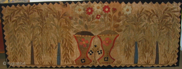 Antique Indian Applique Panel, mounted, 6' 5'' X 2' 6''  Click image to view details.