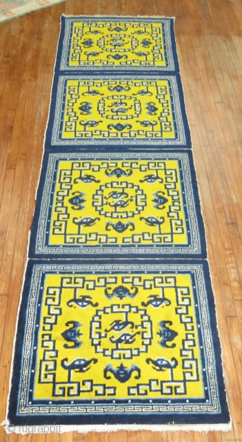 Antique Chinese Peking Runner or 4 square mats 3'3''x12'10''.  In great condition.  Bright yellow and indigo blue.