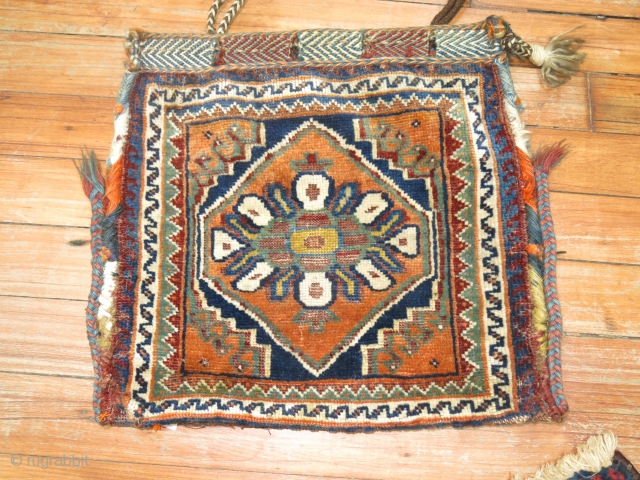 Antique Chanteh Bagface Size 1'1''x1'2''.  Very good condition and quite fine weaving.  Small attractive piece for collectors.