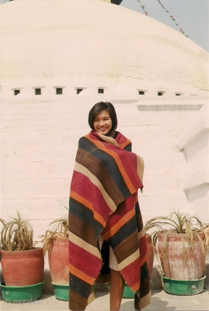 Su in Boudha modeling an early 20thC Dolpo[western Nepal] blanket.