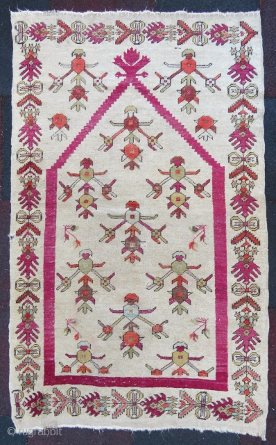 Antique Gordes prayer rug wonderful colors and nice condition all original Circa 1850-1860