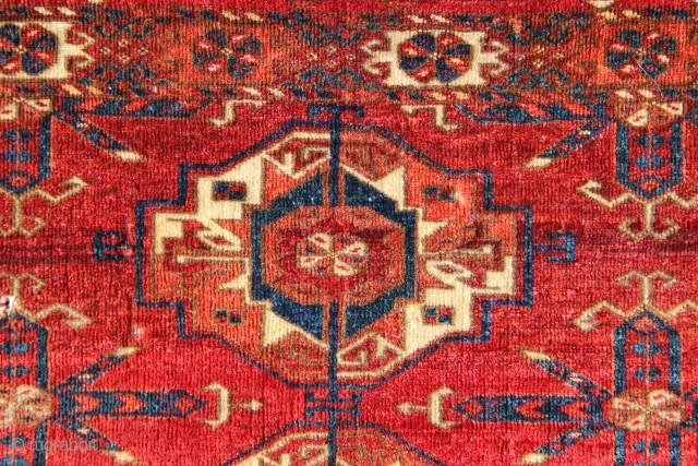 """Tekke 6 Gul torba, super fine, with great colour. 1'7"""" x 4'0"""" / 49cm x 122cm. In full pile, a couple of small holes etc."""