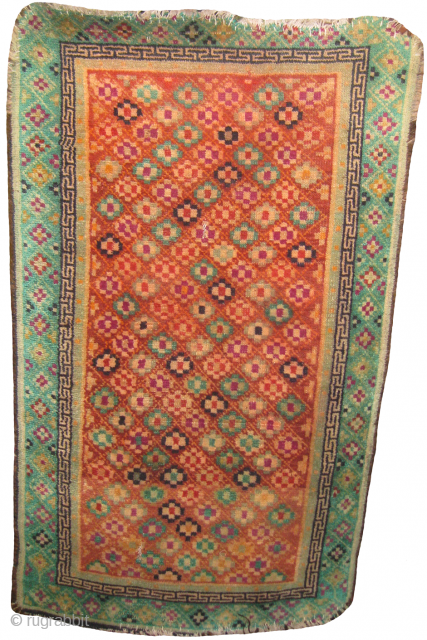 old Tibetan rug size: 4.2 x 2.6 ft. condition ends needs to be re-done.
