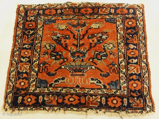 "Antique Persian Malayar Vase of Flowers Bagface 1'5"" x 1'8"""