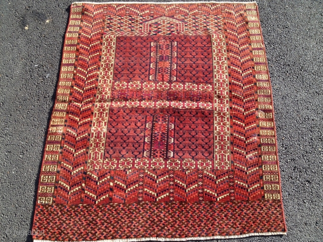 Old Turkman Tekke Engsi in as found condition 3'9'' x 4'7''