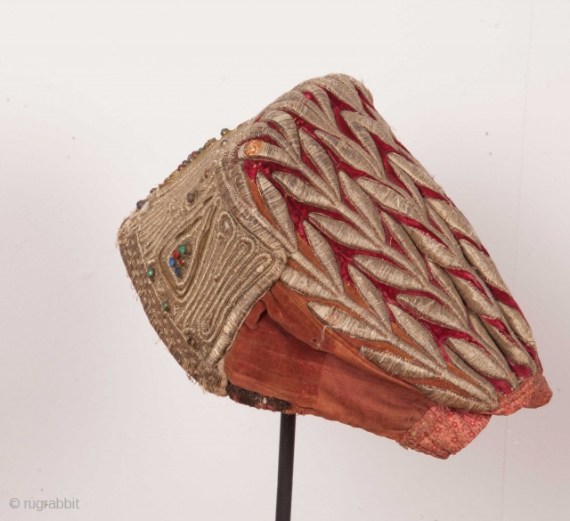 Russian Embroidered Hat Late 19th C.