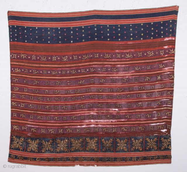 Sumatran Tapis with good age and condition problems 113 x 113 cm / 3'8'' x 3'8''
