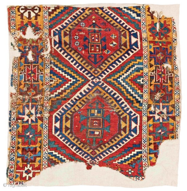 East Anatolian Kurdish rug fragment with great colors and powerful drawing