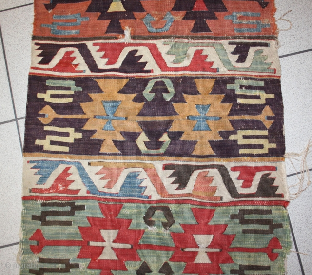 early anatolian Kilim fragment, sides original, reduced in lenght, 200x66cm