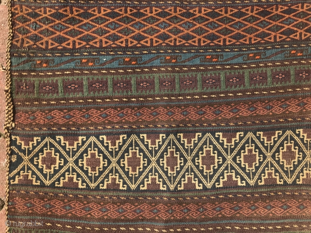 Beautiful Baluchistan double bag with quite the stripe back. Great palette.