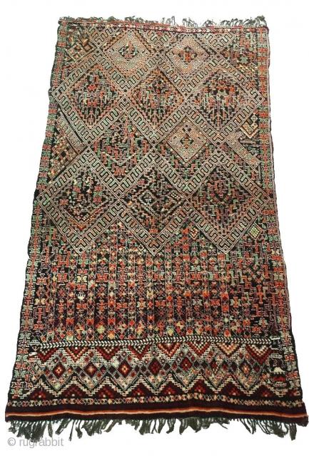 Rare and fine Marmoucha berber rug, Middle Atlas of Morocco, 12' x 6'7, 360 x 205 cm.. 3rd quarter XXth..100% Wool  Samir SOUIYAT Moroccan Berber Rugs