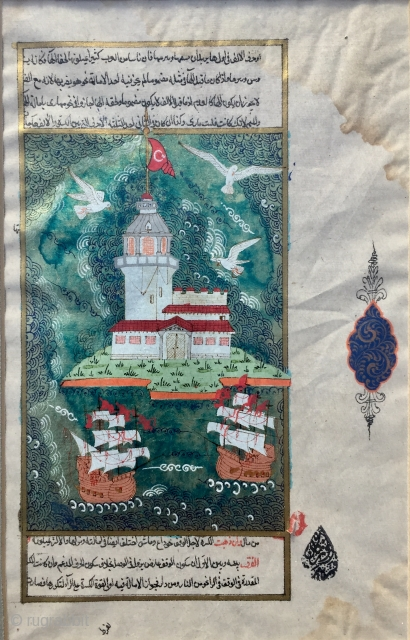 A Ottoman Empire miniature painting from late 19th century , the story of Kiz Kulesi ( Maiden's Tower) Istanbul framed with museums glass ready for display