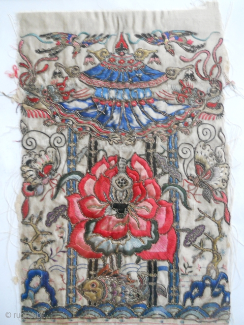 Amazing antique Chinese Embroidery Gold-Silk on Silk Textil Fragment 
