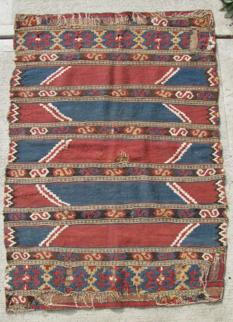 "2' 4"" x 3' 5"" Manastir Kilim . . . fragmentary, but stabilized.  Free ship/U.S.  3 day returns policy."