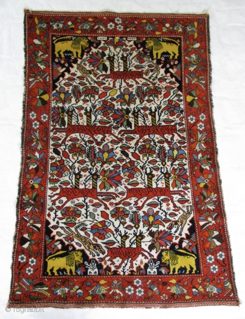 "Doppelgänger Galloping Gazelles 3' 1"" x 4' 5"" West Persian Village Rug.  Single white cotton wefting is intertwined with brown or red wool strands.  The red . . . and  ..."