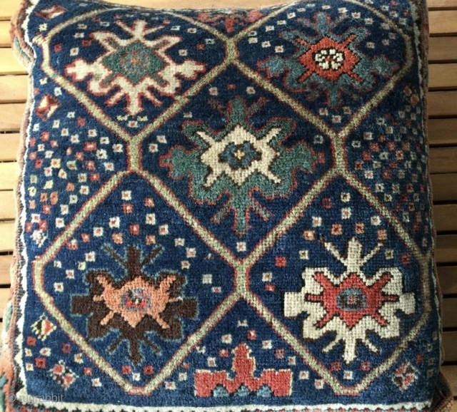 """Antique 1' 7"""" x 1' 8""""  Bagface Pillow.  Machine stitching over original minor guard borders.  Stain on backside.  Quote includes shipping."""