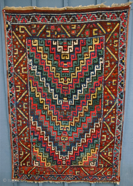"""Erzerum Village Rug / circa 1875   This East Anatolian rug is really wonderful; it is pure folk art; resembling an abstract impressionist painting... I love it! Size is good too. 6'2"""" x  ..."""
