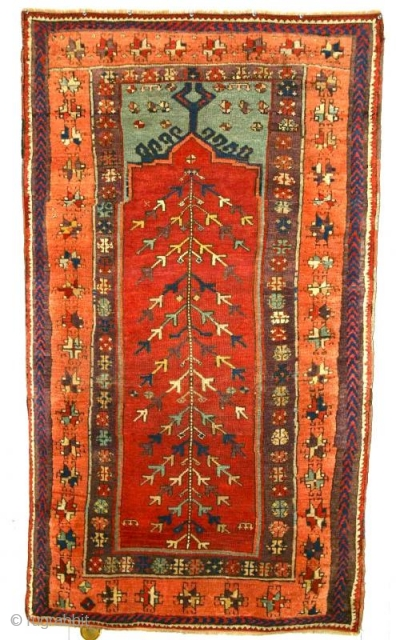 Yuruk Prayer Rug, circa1875 Kagizman, (perhaps Sivas). Intact, no major repair, a powerful totemic piece with exceptioanal color.