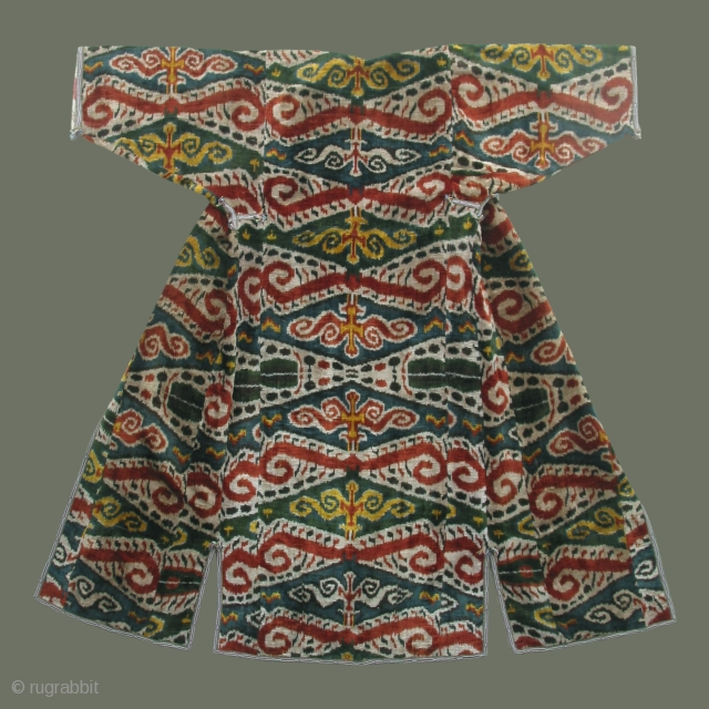 Silk velvet ikat coat; excellent condition.