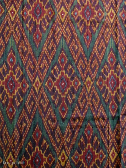 Fine, older silk skirtcloth from Cambodia; beautiful colors and crisp ikat; condition very good.