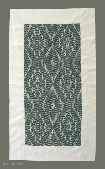Old Lao-Tai Blanket - Possibly from Xam Tai, this beautiful old blanket has a bold design in a soft, greyed indigo on natural background. All thread is handspun cotton. It matches very  ...