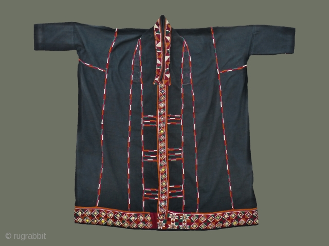 Lao Song/Tai Dam Woman's Ceremonial Tunic - This rare old tunic is especially unusual because both sides were used: the dark, undecorated inside was worn for ceremonial use, along with a skirt;  ...