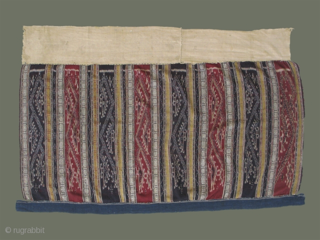 Antique 'Sin Mii' from Laos - River dragons alternate in red silk and indigo ikat panels with flanking supplementary weft patterns in silk.  Condition is very good with only a few  ...