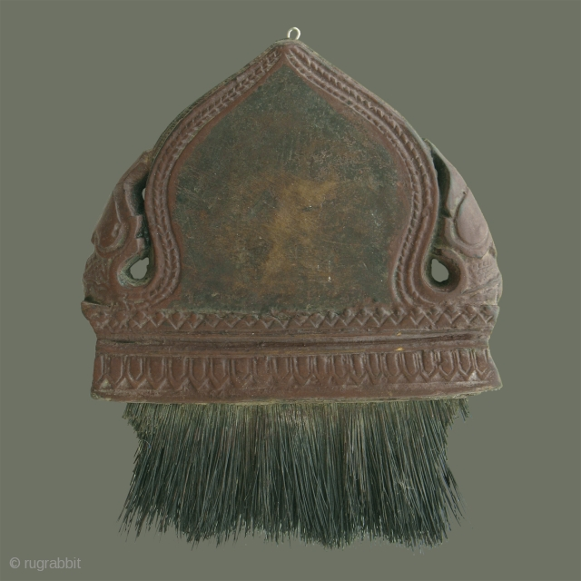 Antique Silk Brush from Cambodia - This old silk brush is in a classic, elegant shape with two 'nak' on the flanking sides, and their bodies forming a textured border for the  ...