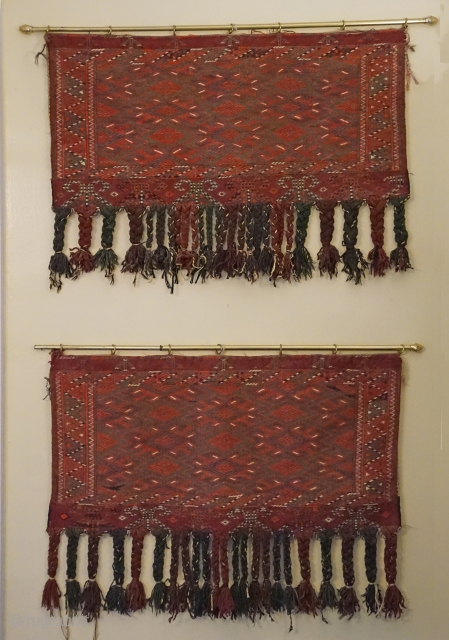 Antique Turkomen matching pair of Yomud tribal Sumak weave tent bags (aka chuval)...
